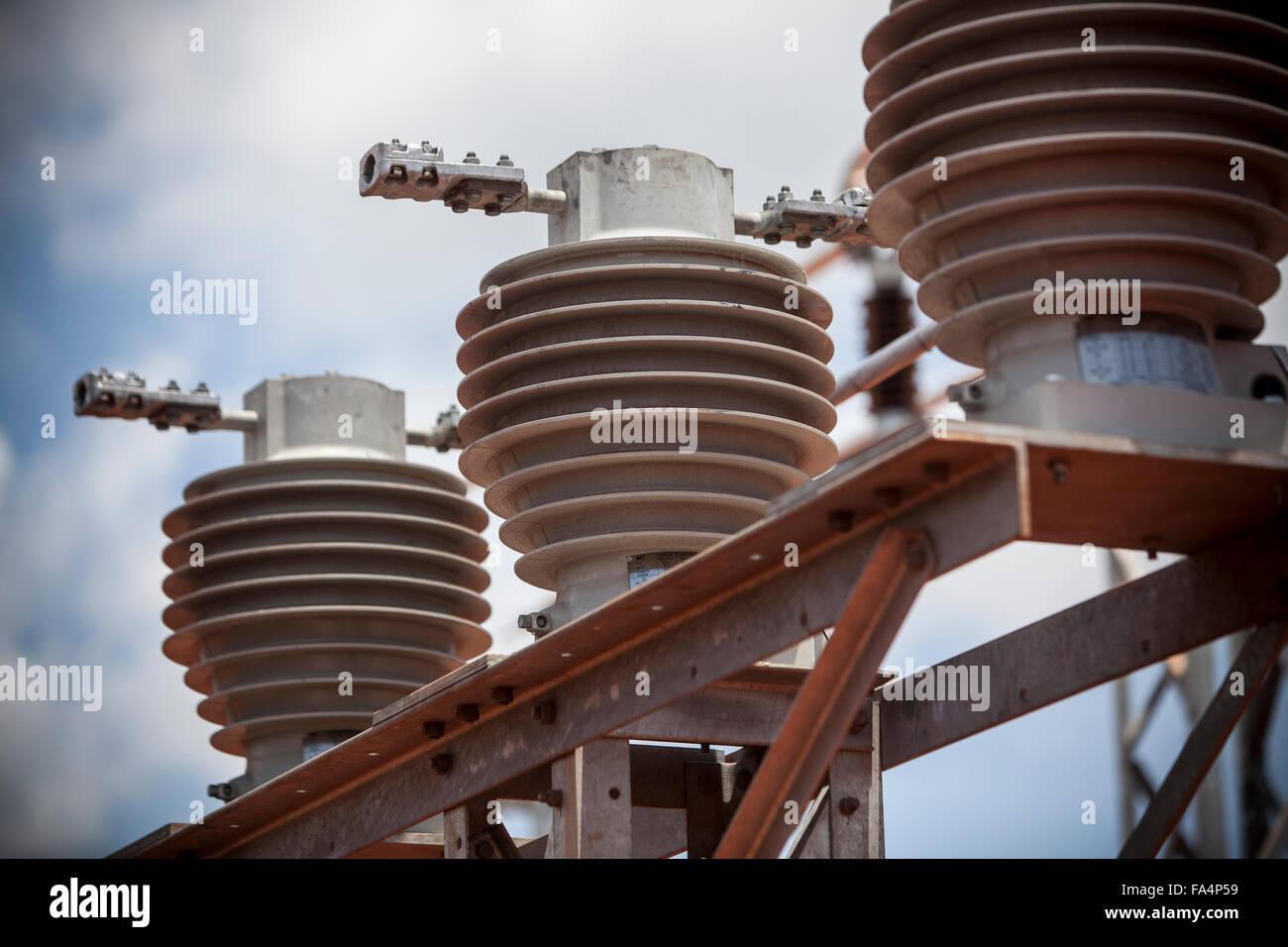 Umspannwerk Infrastruktur in Tanga, Tansania. Stockbild