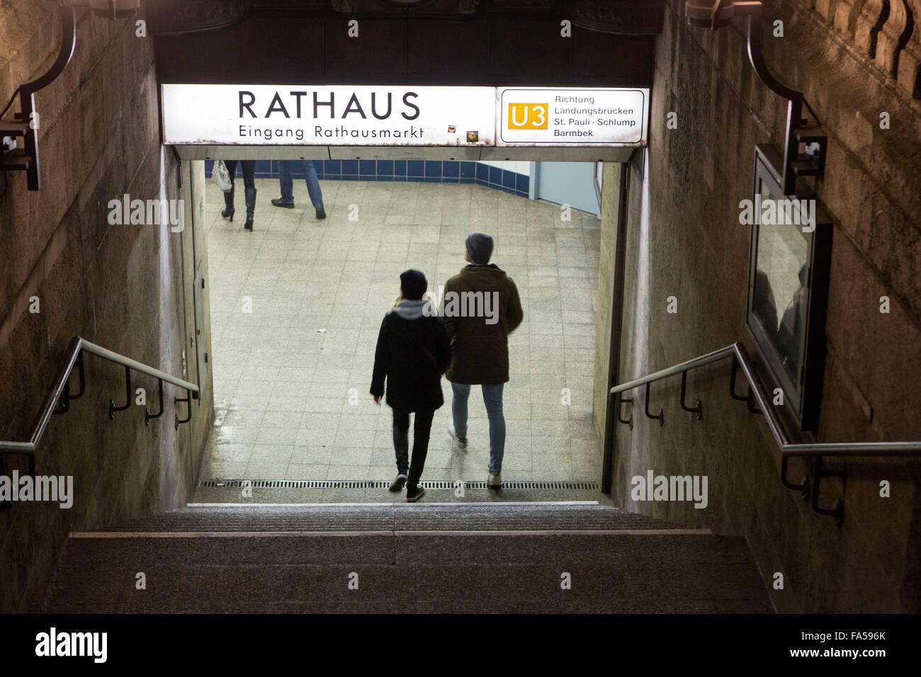 Hamburg-Deutschland. Hamburger U-Bahn Rathaus station Stockbild