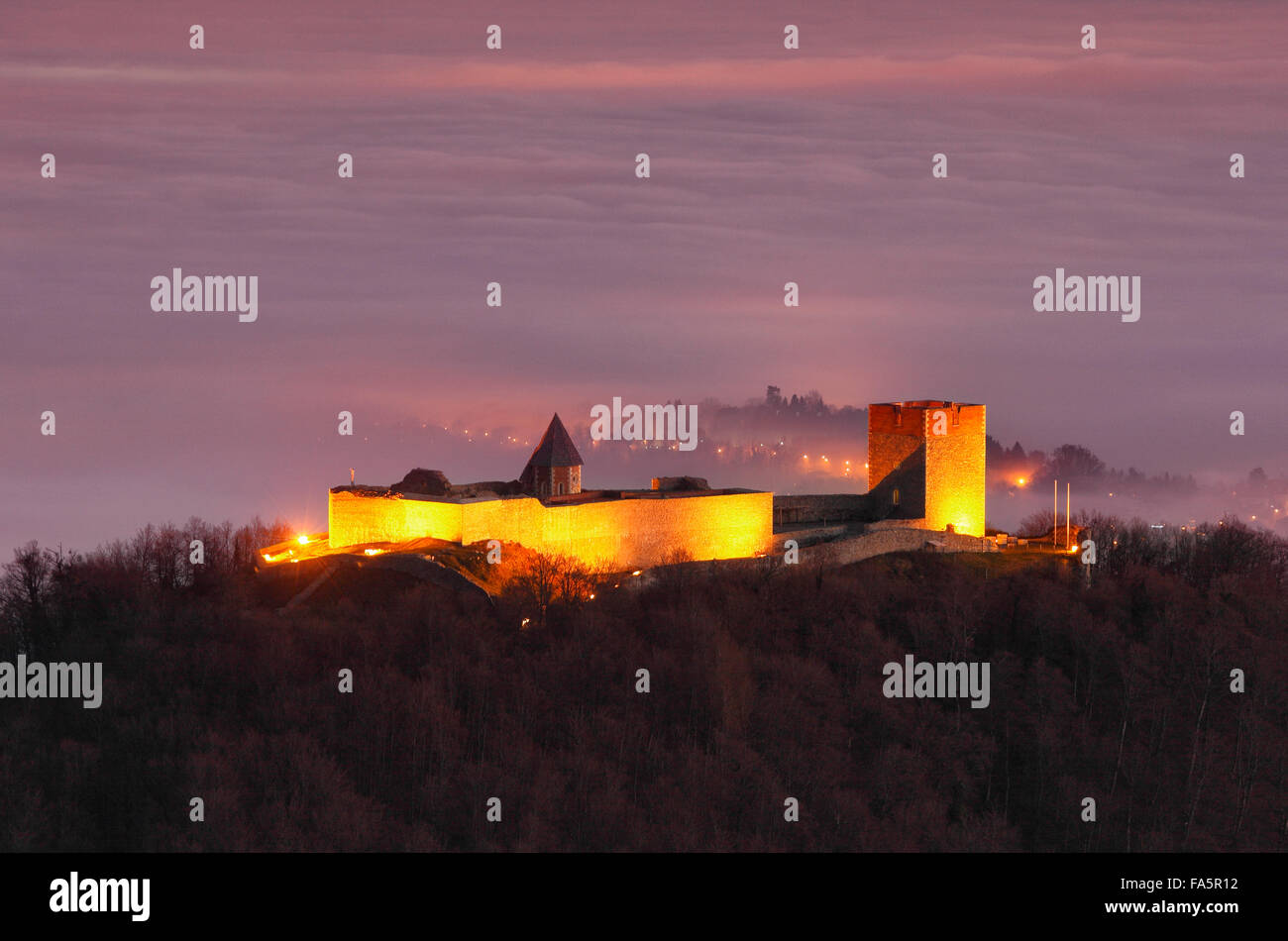 Festung Medvedgrad bei Hauptstadt Zagreb Stockbild