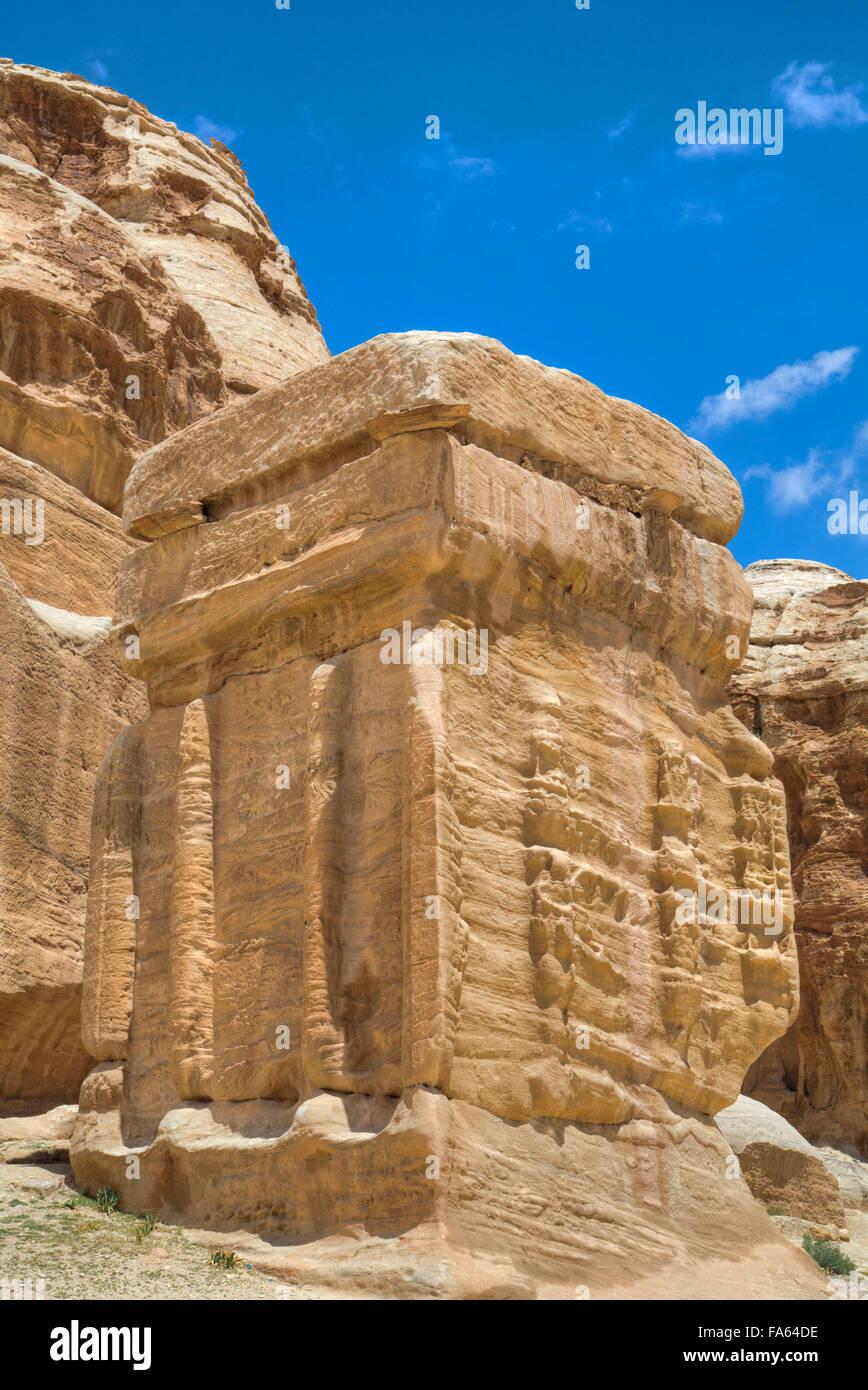 Dschinn Blöcke, Termine von 50 v. Chr. bis 50 n. Chr., Petra, Jordanien Stockbild