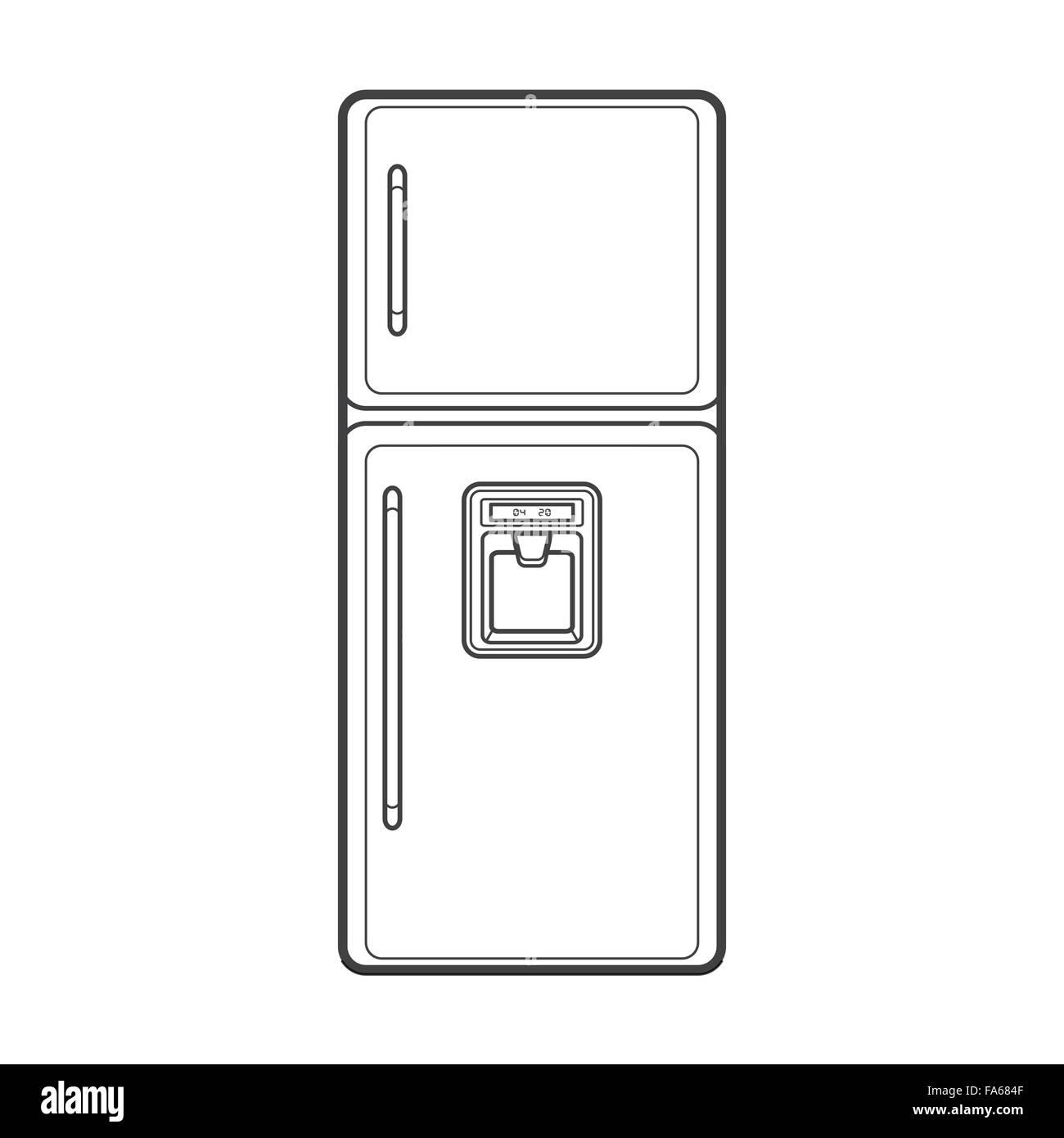 Vektor monochrome Kontur Küche Kühlschrank Wasserspender isoliert ...