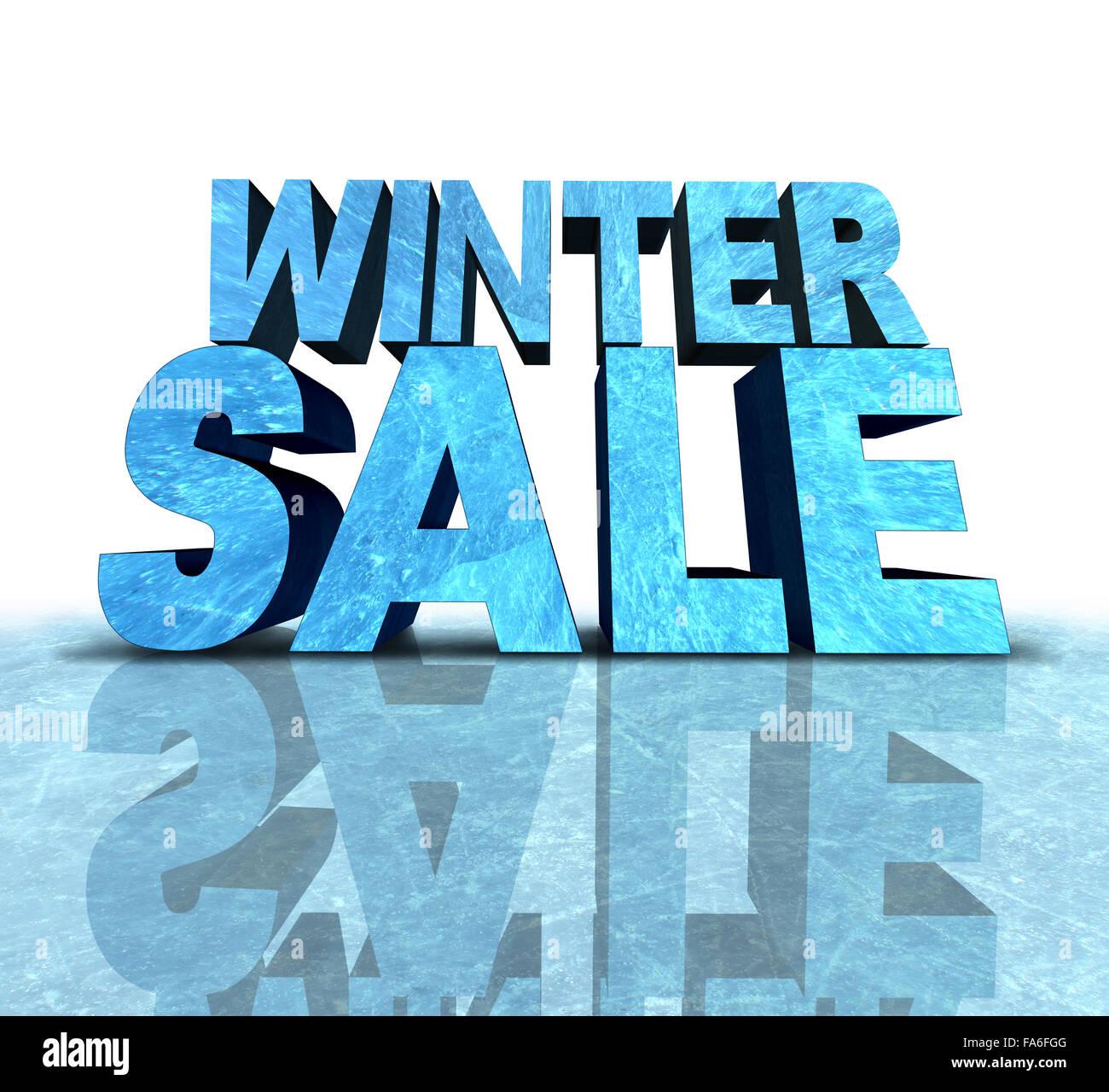Winter Sale Zeichen gemacht mit einem Stück von gefrorenen Eis als saisonale Förderung und Neujahr Werbung Stockbild
