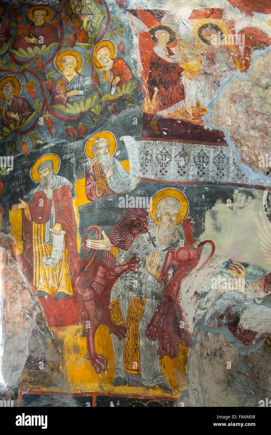 Ägypten, östlichem Schwarzmeeküste, Provinz Trabzon, Sumela Kloster sterben Felsenkirche. Innen-Und Stockbild