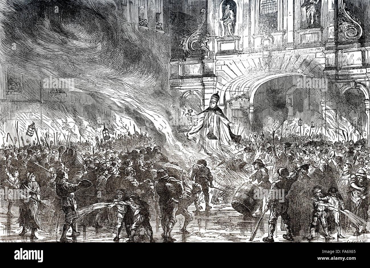 Die Bürger von London Brennen des Papstes in effigie an der Temple Bar, London, UK, 18. Jahrhundert, Stockbild