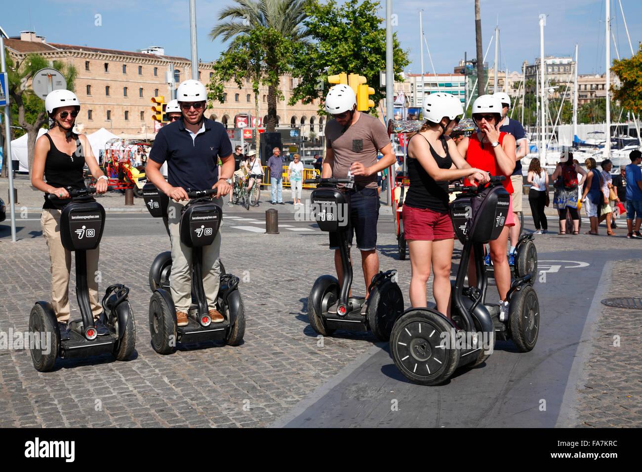 Segway-Tour auf den Hafen, Barcelona, Spanien, Europa Stockbild