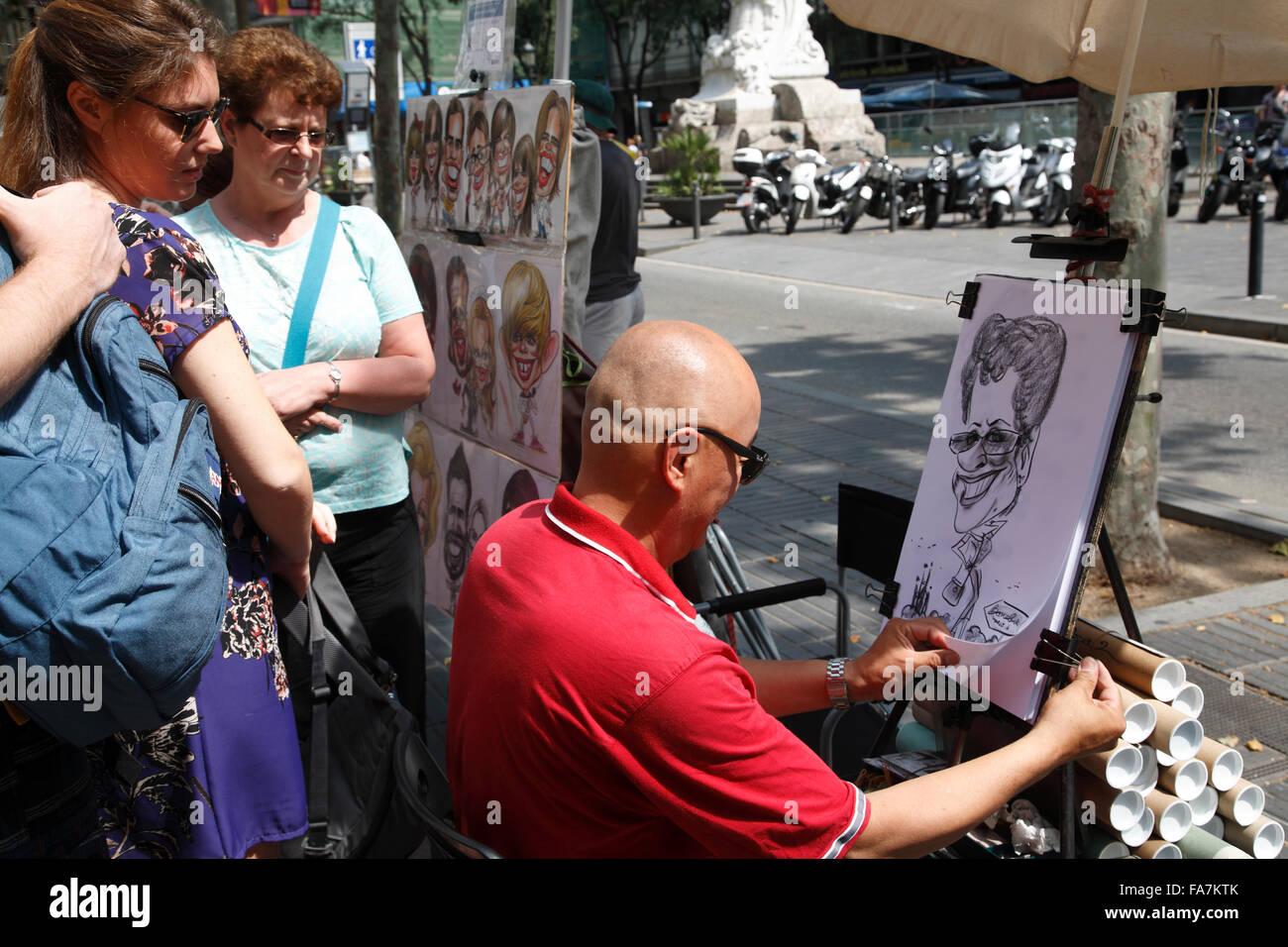Maler bei der Rambla, Barri Gotic, Barcelona, Spanien, Europa Stockbild