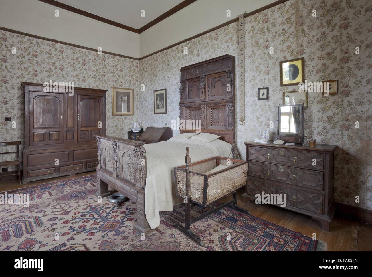 Der Cavalier Zimmer im Chastleton Haus, Oxfordshire. Die ...