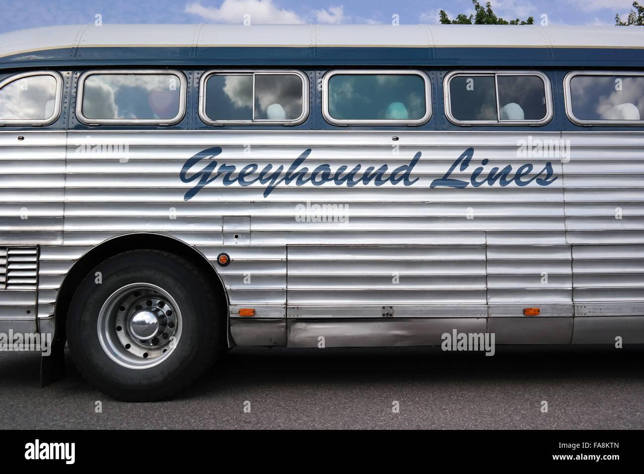 Seite Detail Oldtimer Bus der Greyhound Lines. Stockbild
