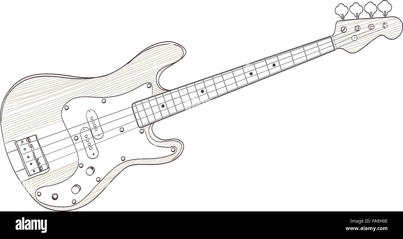 Bass-Gitarre auf weiße Zeichnung. Vektor Vektor Abbildung - Bild ...