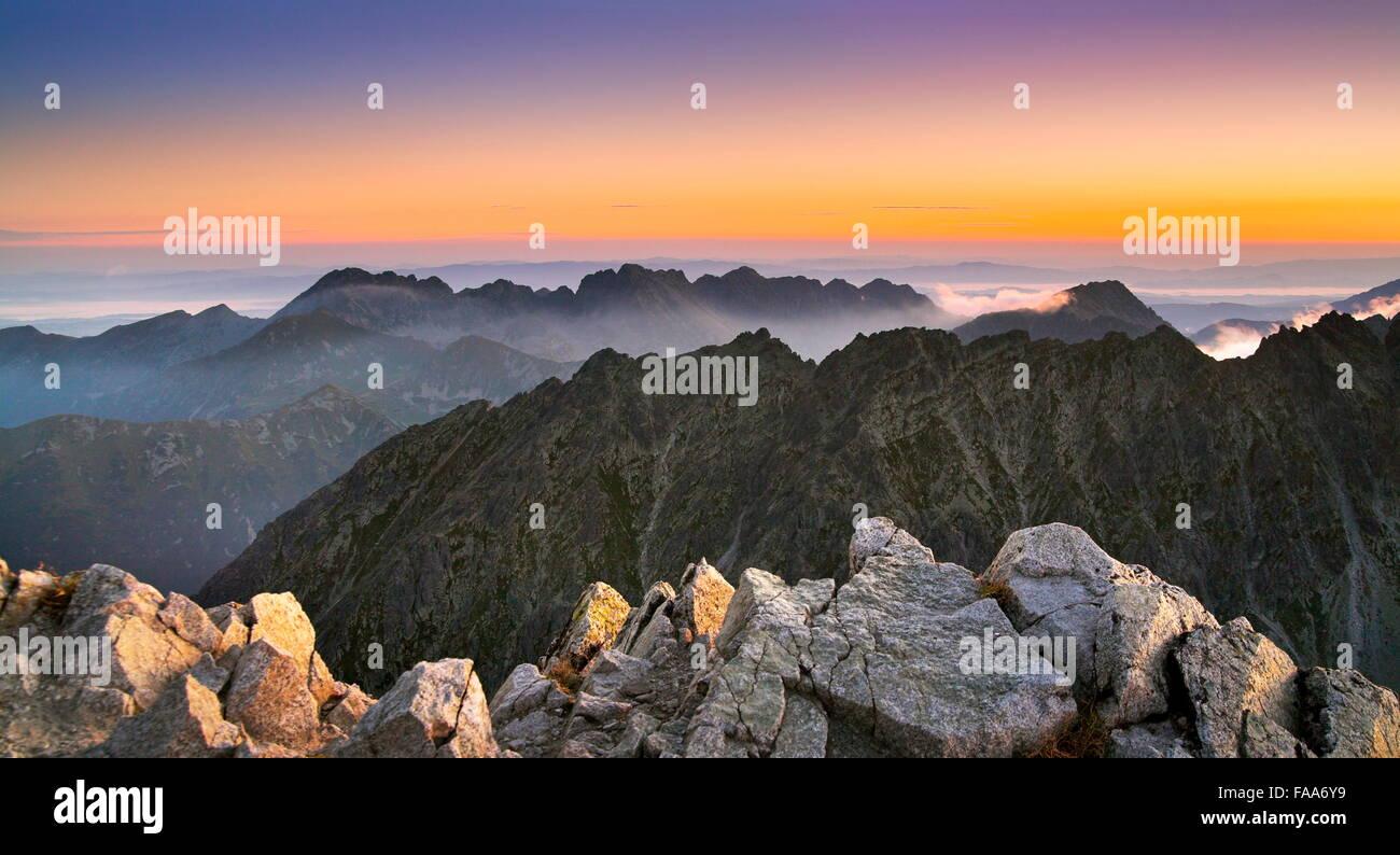 Blick auf Surise vom Krywan Peak, Slowakei Stockbild