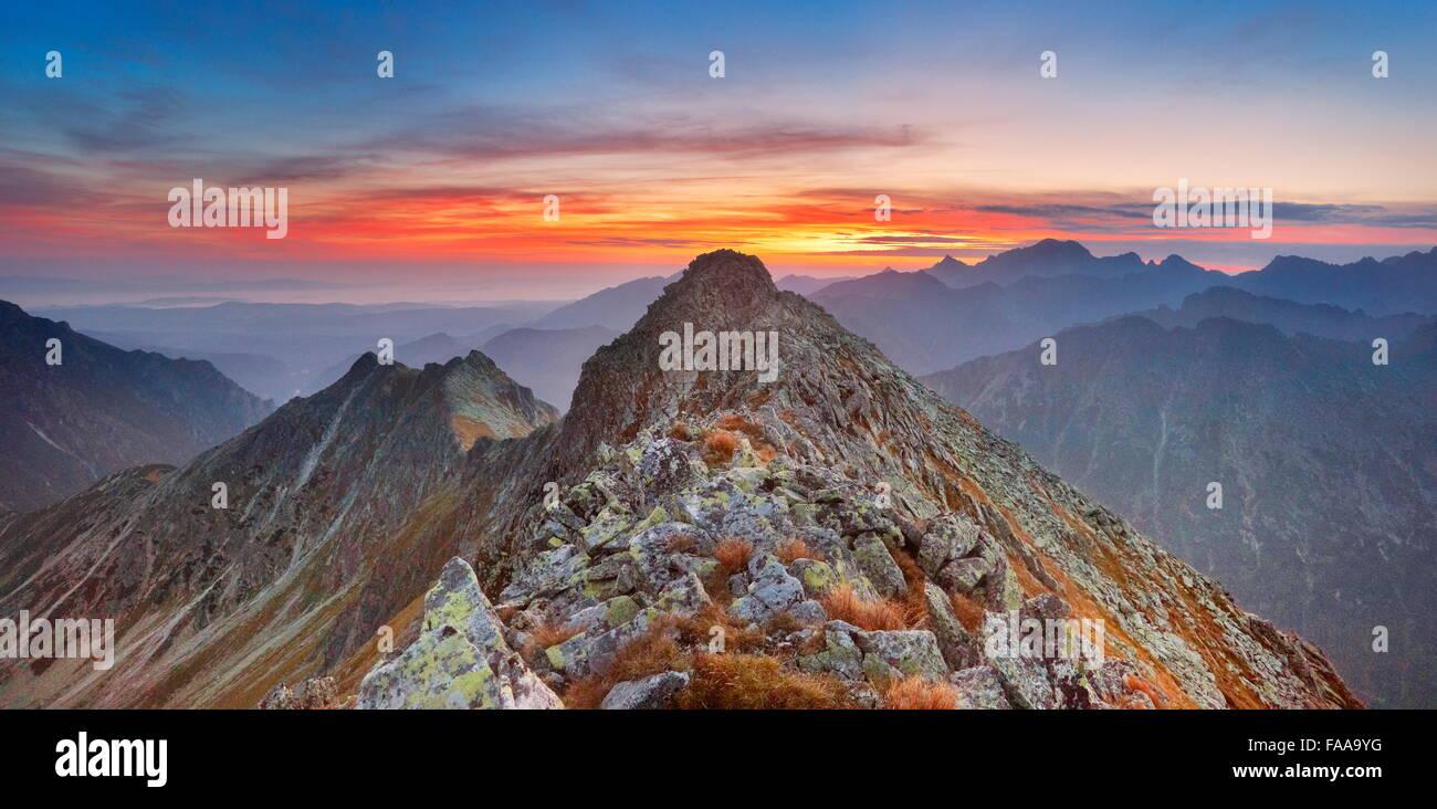 Tatra-Gebirge, sunrise Stockbild