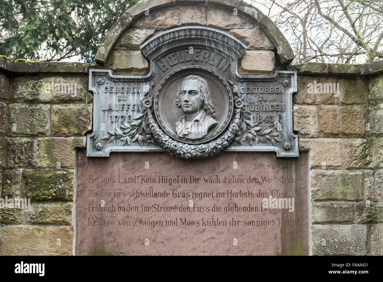 Denkmal des deutschen Dichters Friedrich Hölderlin zeigt ein Porträt des Dichters, bin Lauffen Neckar, Stockbild