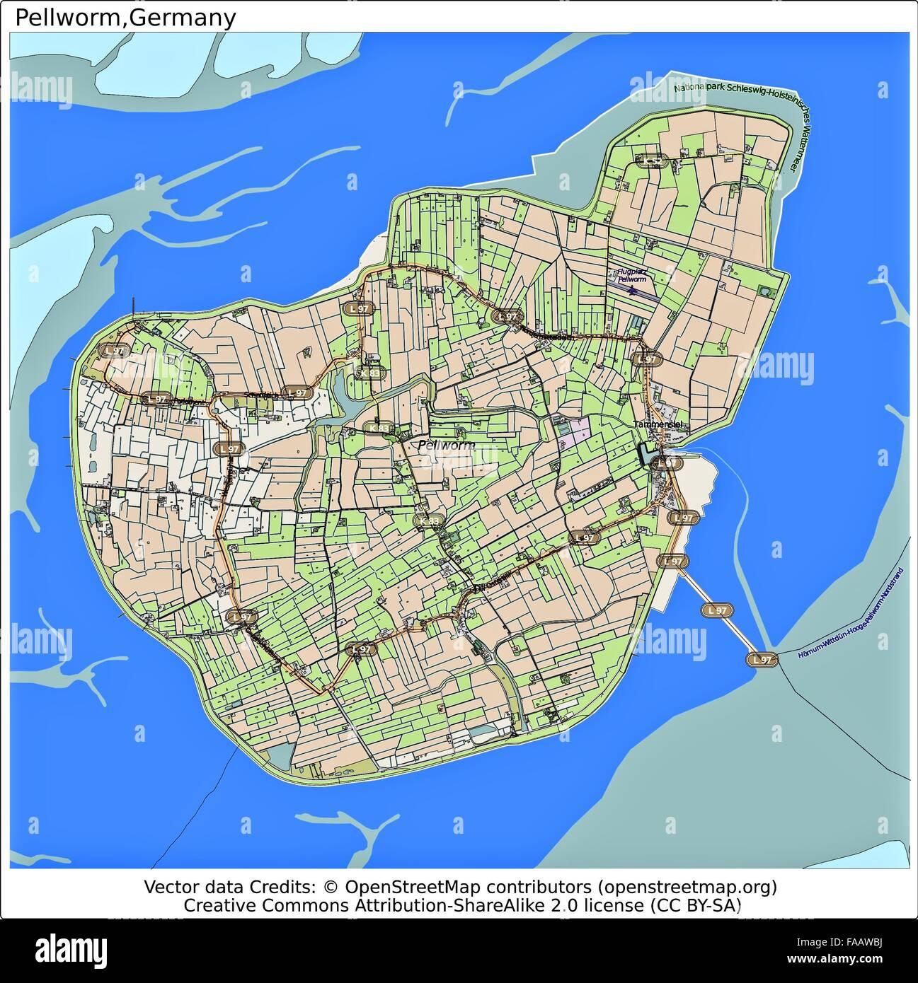 Pellworm Karte.Pellworm Deutschland Insel Stadtplan Stockfoto Bild