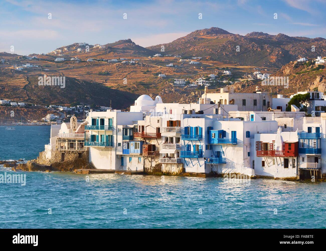 """Griechenland - Insel Mykonos, Blick auf """"Klein-Venedig"""" in die Stadt Mykonos Chora Stockbild"""
