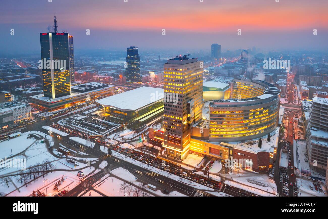 Moderne Skyline von Warschau, Polen Stockbild