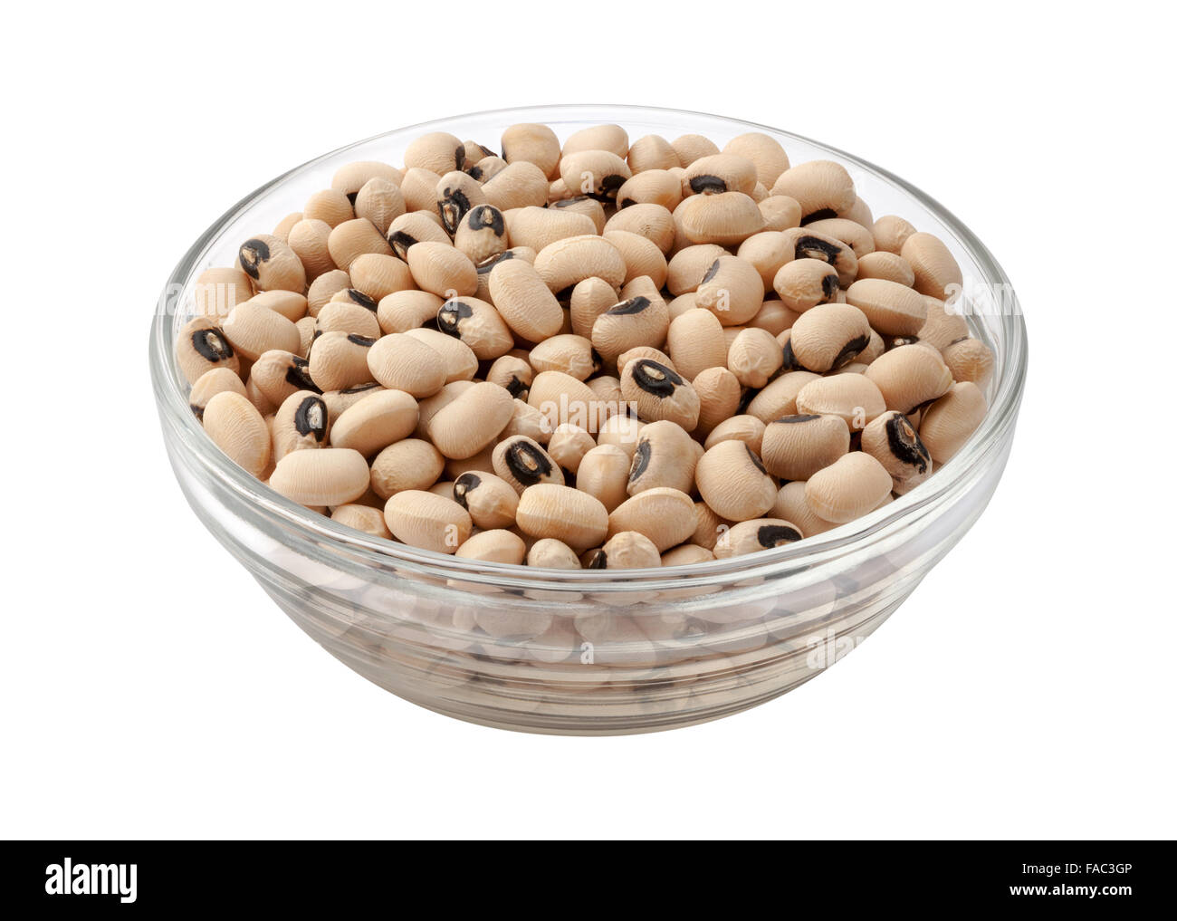 Black-Eyed Peas in eine Glasschüssel Stockbild