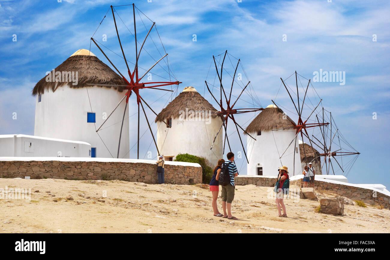 Windmühlen von Mykonos - Kykladen, Griechenland, Stockbild