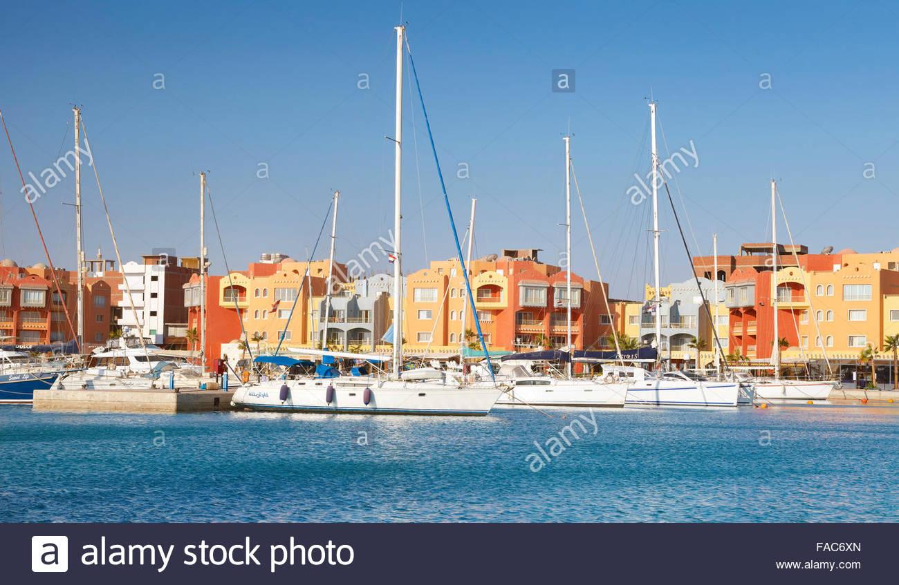 Ägypten - Hurghada Stadtbild, Marina Stockbild