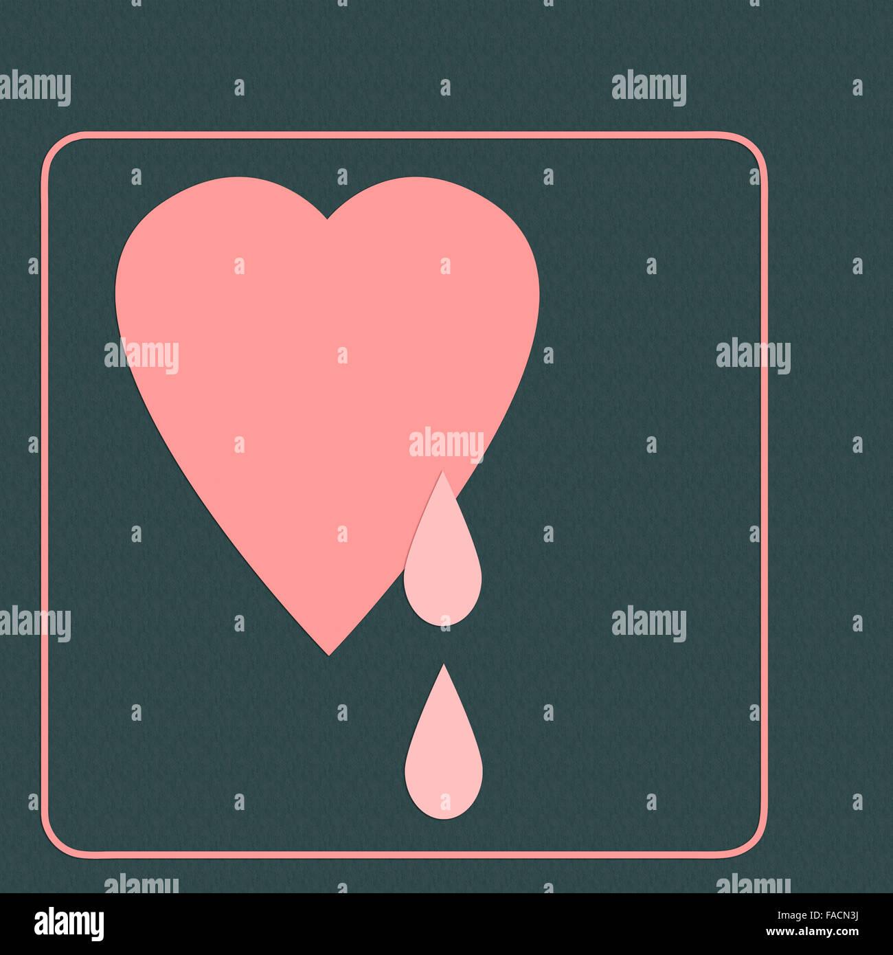 Flat Design Heart Tears Stockfotos Flat Design Heart Tears Bilder
