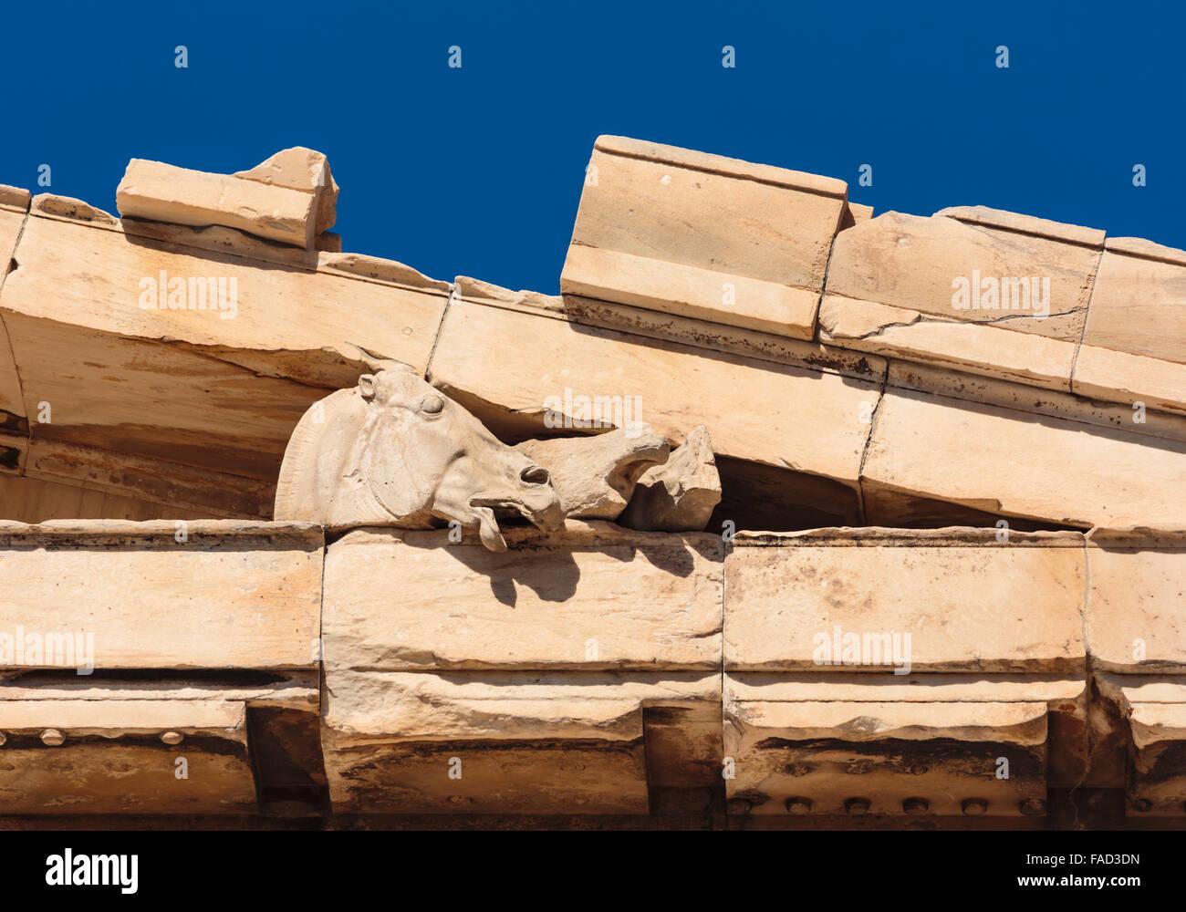 Athen, Attika, Griechenland. Östlichen Giebel des Parthenon, die überlebenden Skulpturen. Stockbild