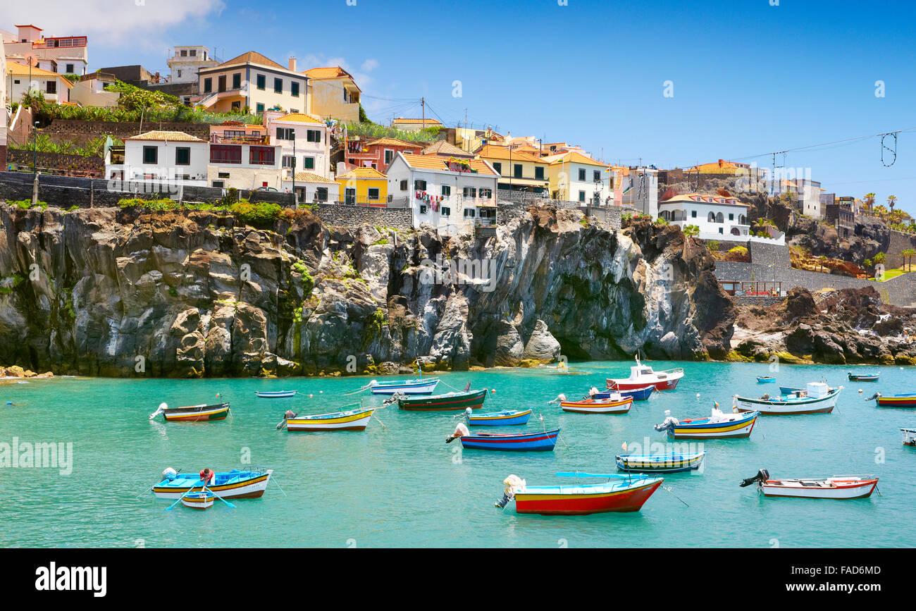 Fischerdorf Camara de Lobos Insel Madeira, Portugal Stockbild