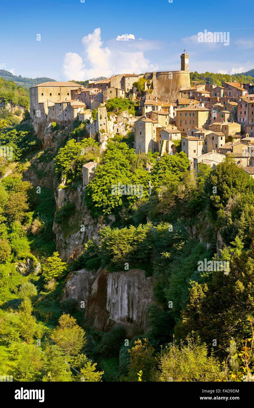 Sorano Stadt, Toskana, Italien Stockbild