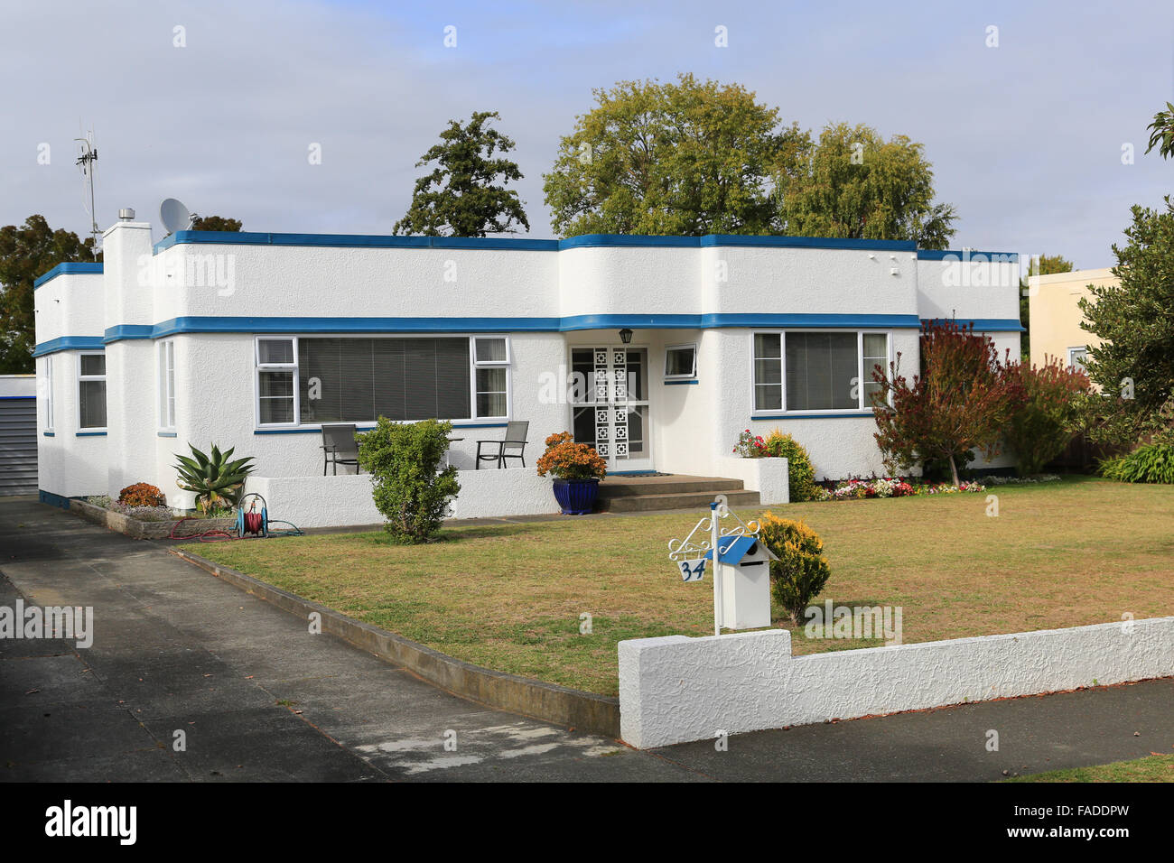 Art Deco Haus In Napier, Hawkes Bay, Neuseeland. Stockbild