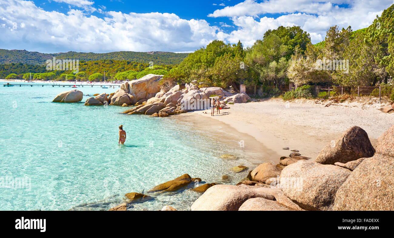 Korsika - Strand von Santa Giulia, Porto-Vecchio, Ost-Küste der Insel Korsika, Frankreich Stockbild