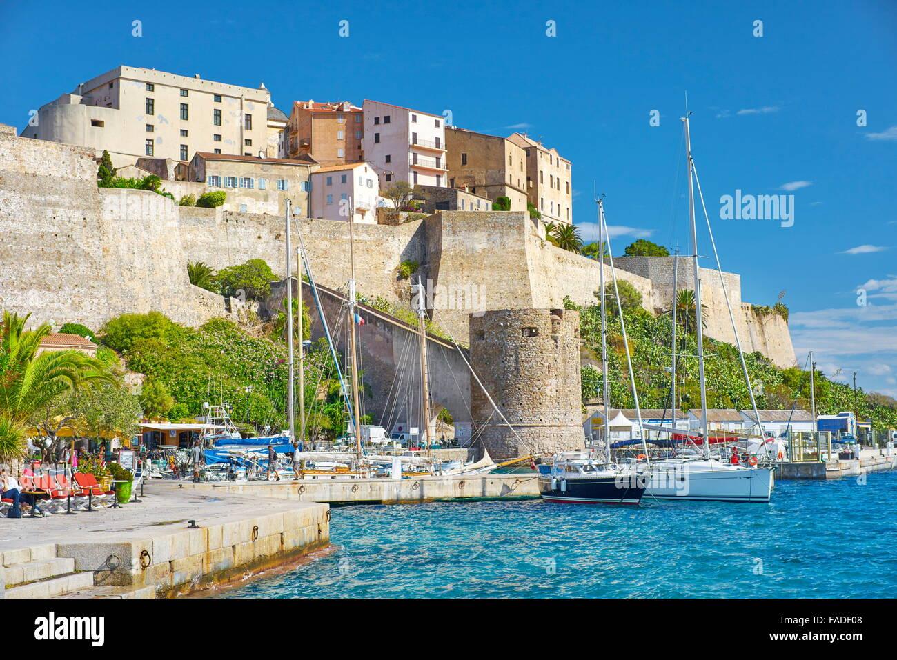 Calvi, Blick auf die Zitadelle, Balagne, Korsika, Frankreich Stockbild