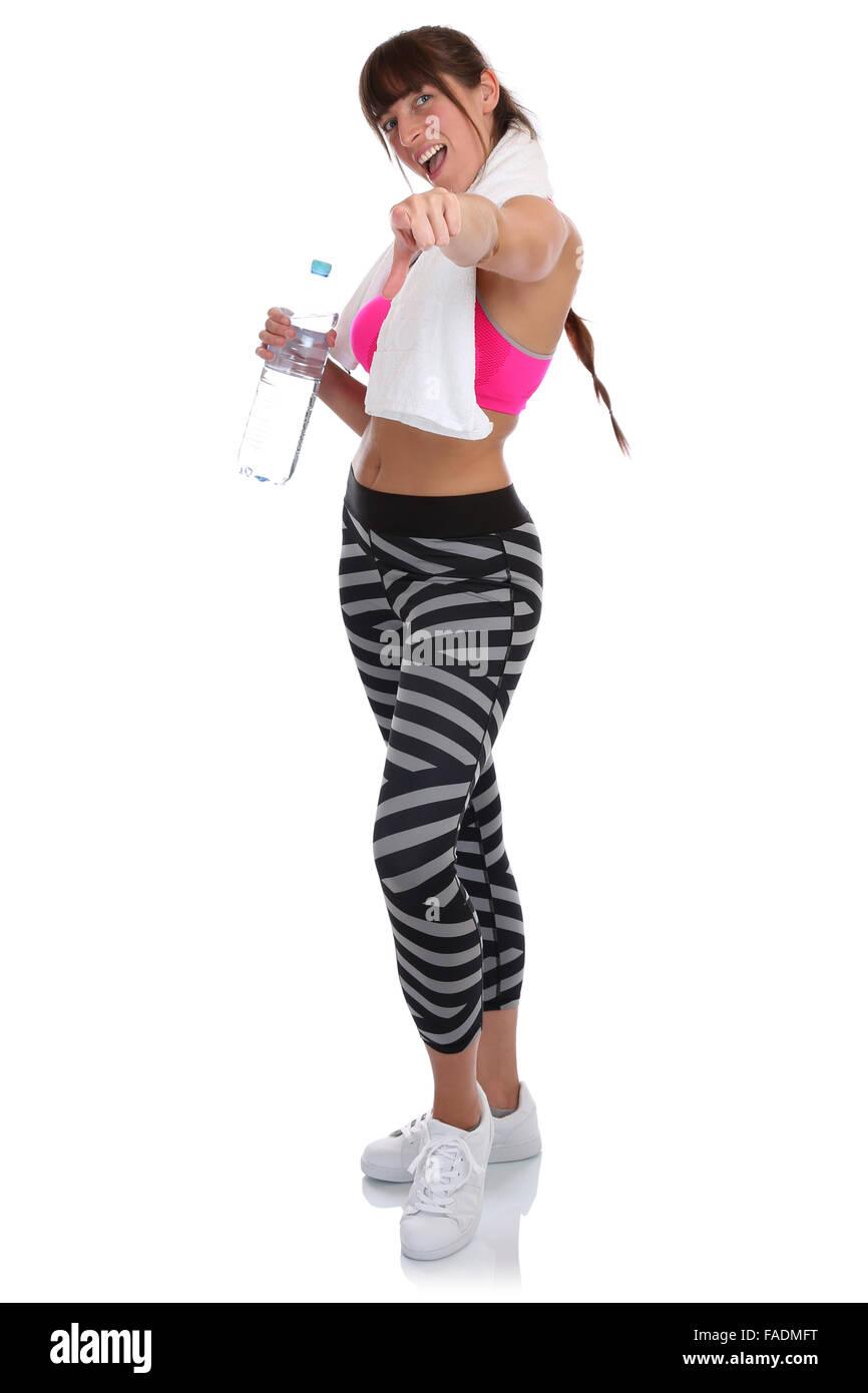 Junge Fitness Frau am Sport Training training teilnehmen, nehmen Teil Ganzkörper isoliert auf weißem Hintergrund Stockbild