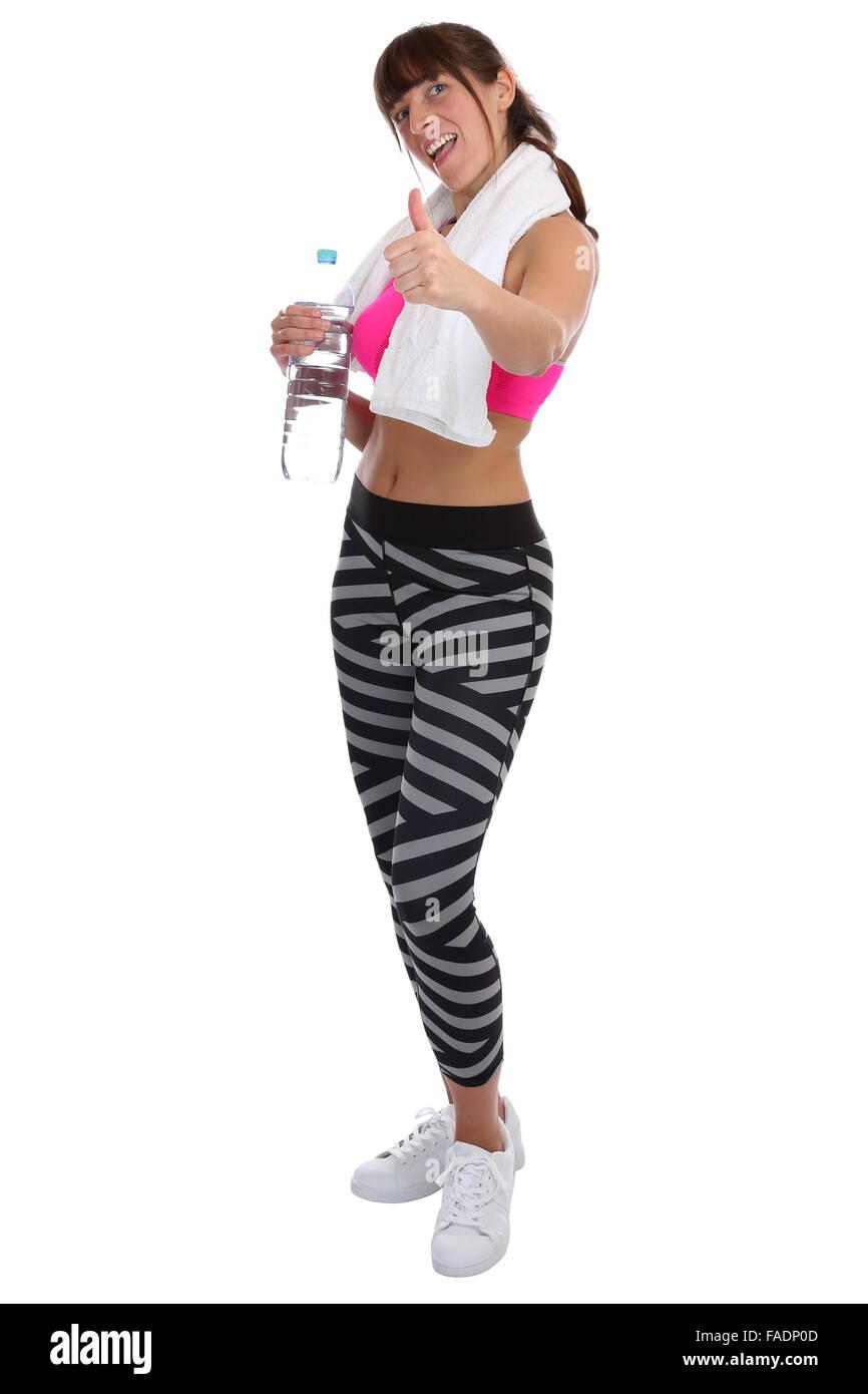 Fitness Sport Frau Trinkwasser zeigt Daumen hoch Ganzkörper isoliert auf weißem Hintergrund Stockbild