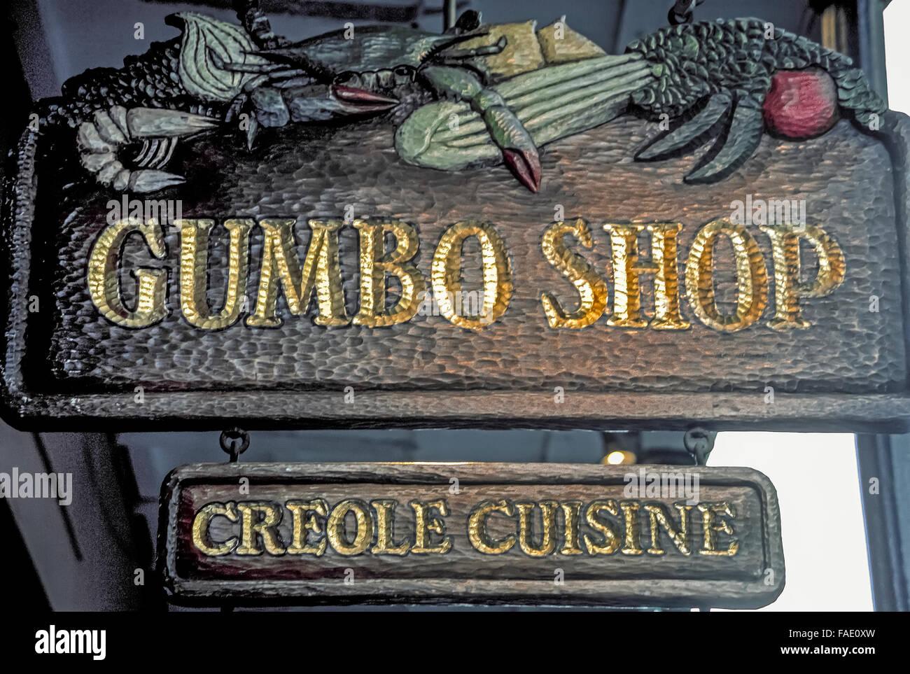 Outdoor Küche Aus Usa : Ein outdoor straßenschild wirbt gumbo shop ein restaurant mit