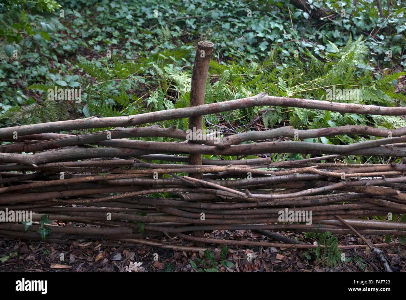 Zaun Gemacht Von Zweigen Und Asten Gunnersbury Dreieck Nature