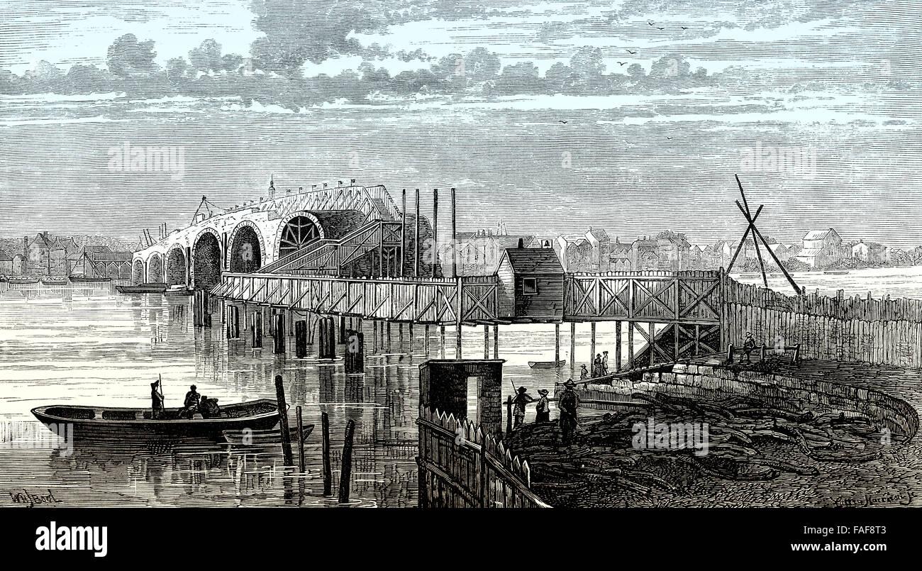 Blackfriars Bridge, eine mautpflichtige Brücke über den Fluss Themse in London, 18. Jahrhundert, Stockbild