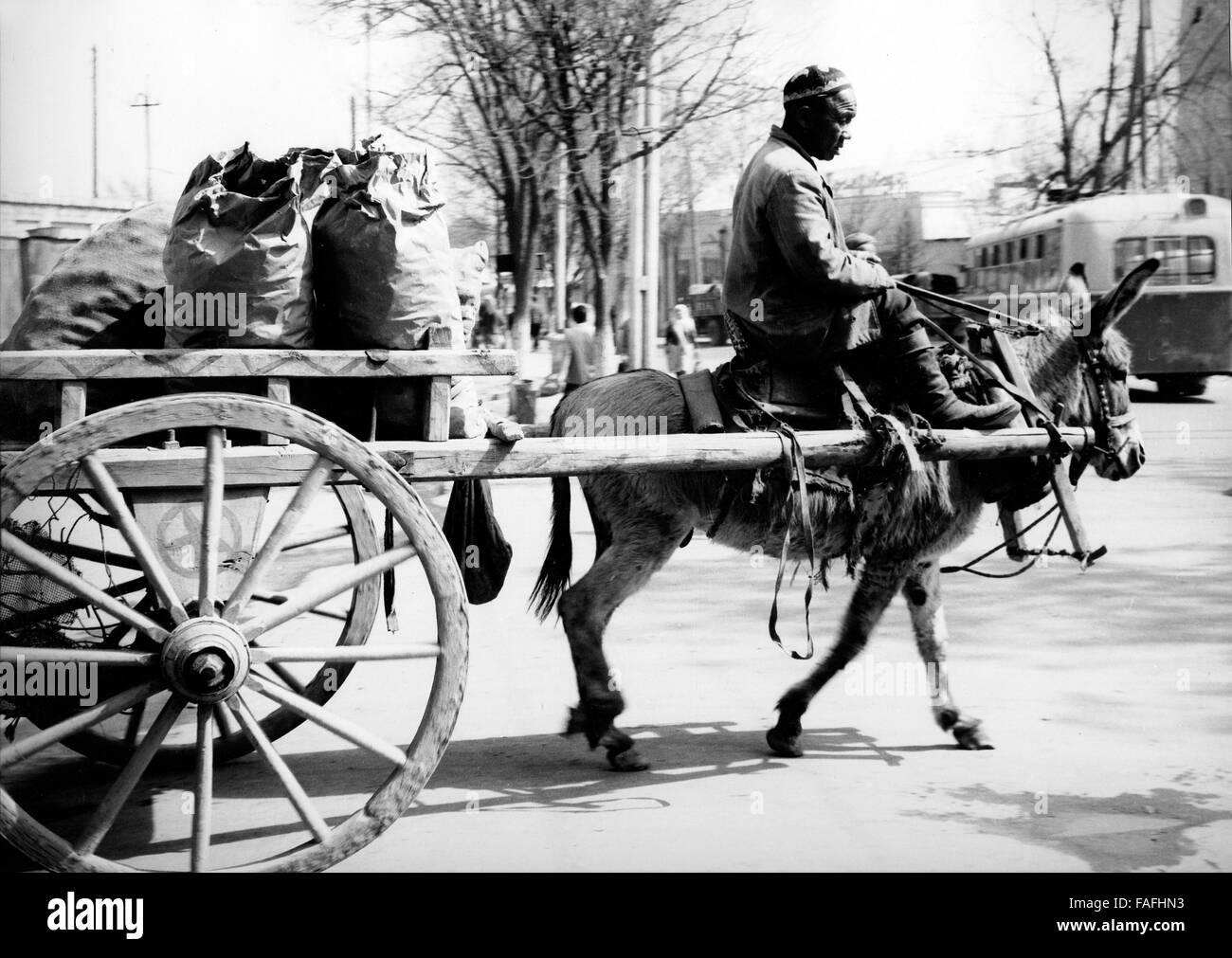 Ein Mann Auf seit Eselskarren in Samarkand in Usbekistan Bezirkshandstempel 1970er Jahre. Ein Mann auf seinen Eselskarren Stockbild