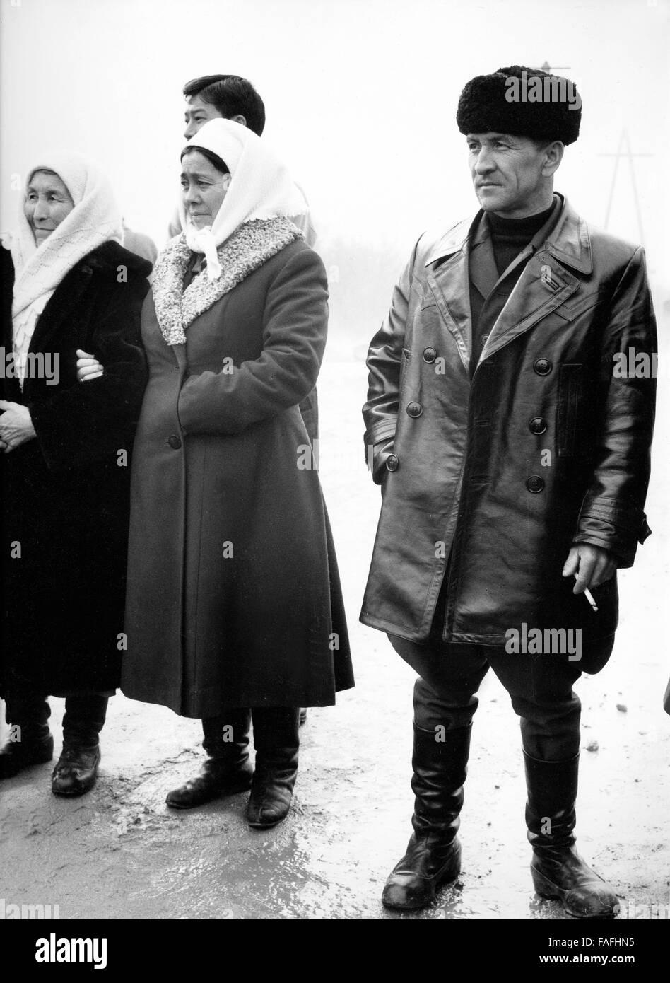 Beispiele Touristen in Alma-Ata in Kasachstan, Bezirkshandstempel, 1970er Jahre. Russische Touristen in Alma Ata Stockbild