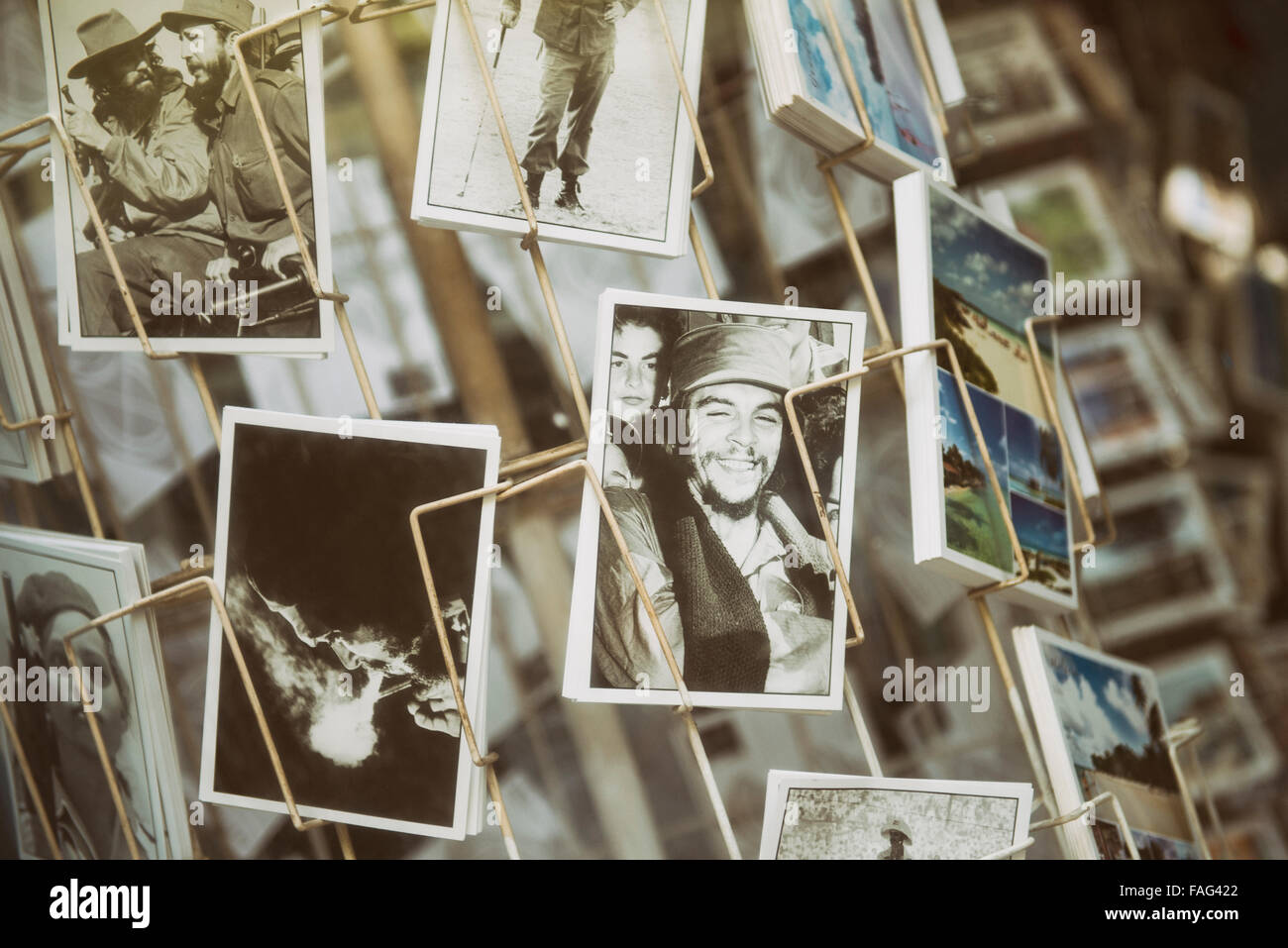 Che Guevara Ansichtskarten, Souvenirs, Havanna, Kuba Stockbild