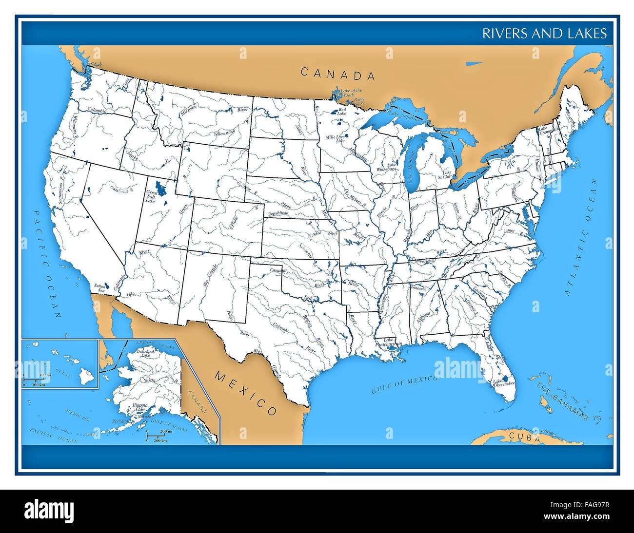 Usa Karte Von Flussen Und Seen Zeigt Zustand Formen Und