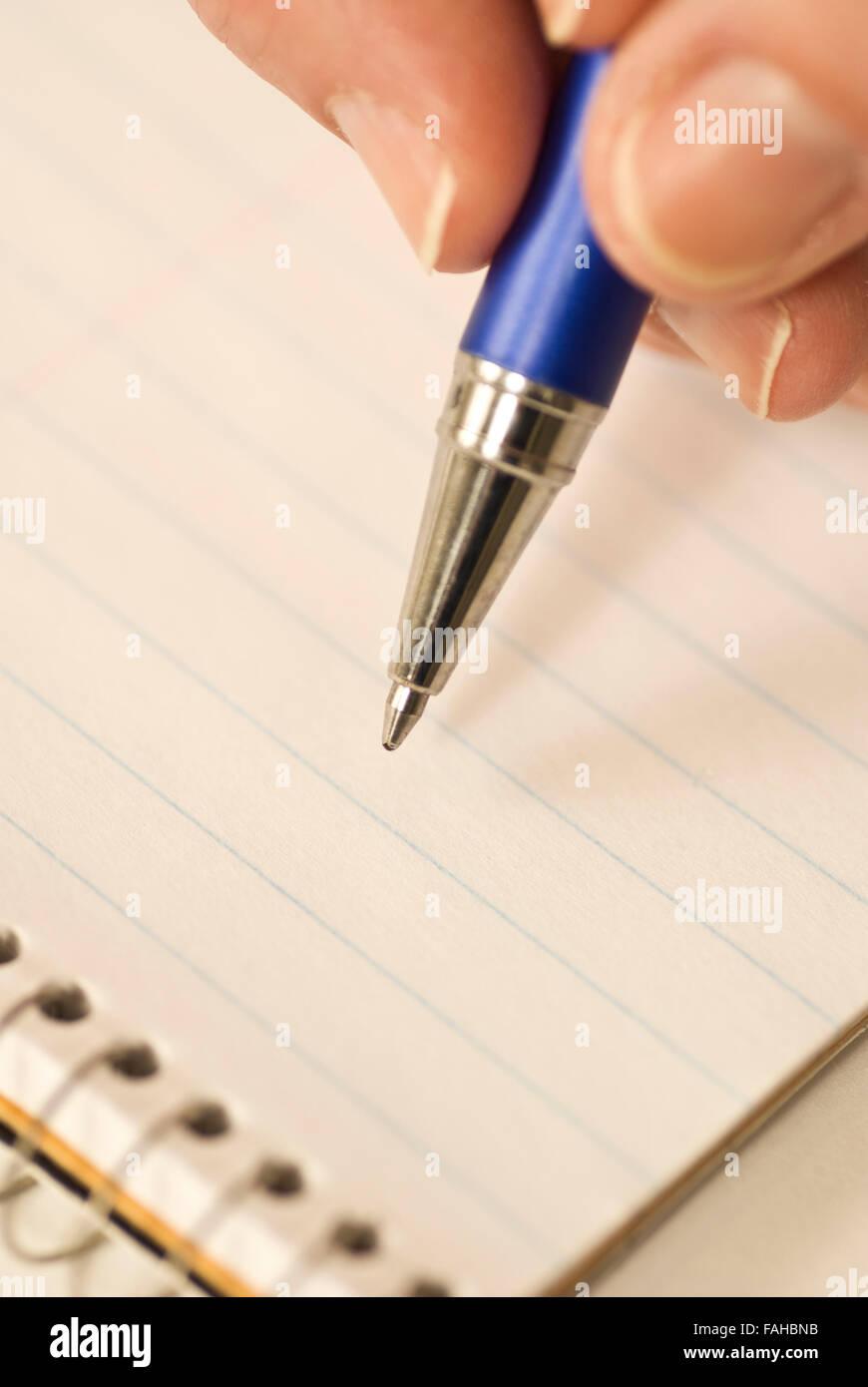 Handschrift mit Stift Stockbild