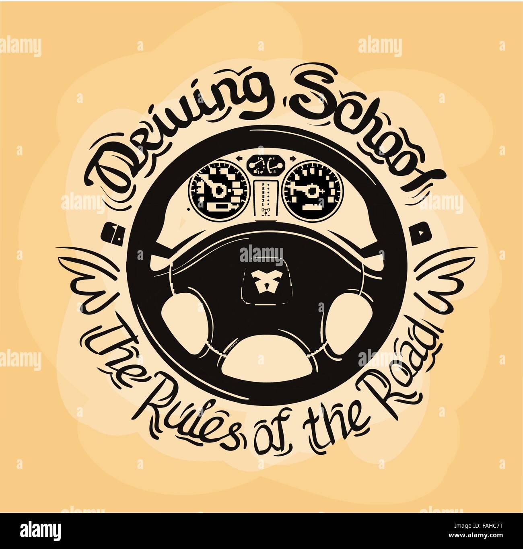 Driving School-Vektor-Logo-Design-Vorlage. Auto Lenkrad oder ...