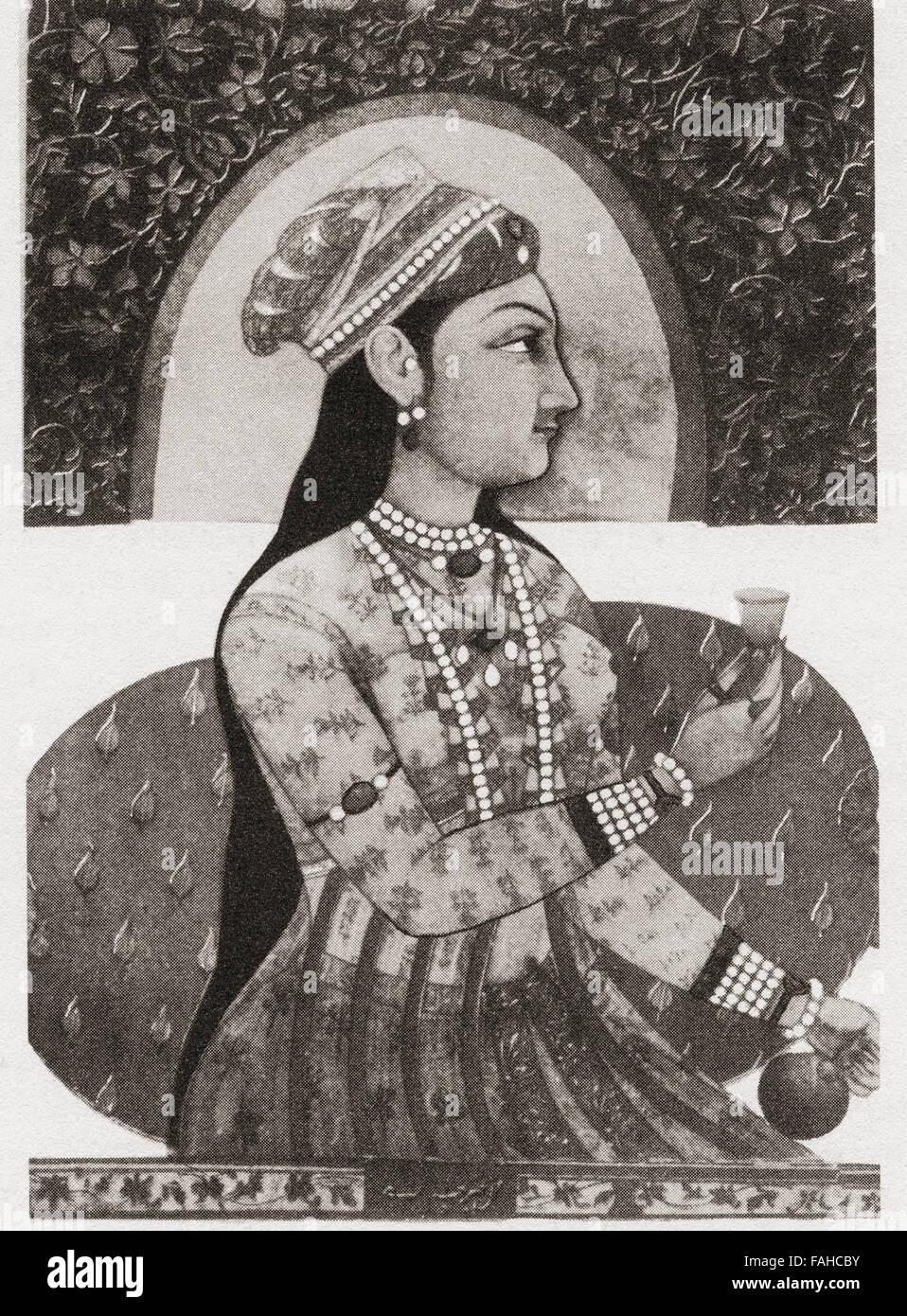 Renommierte Porträt von Nur Jahan, 1577 ? 1645, als Mehr-un-Nissa geboren.  Kaiserin des Mughal Reiches als Stockbild