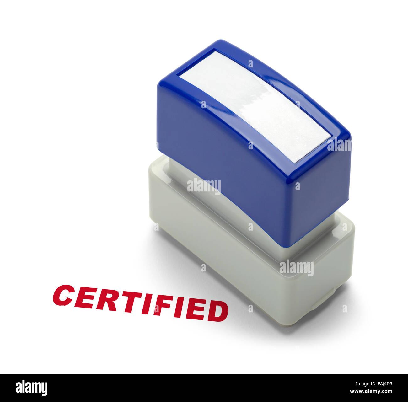 Unternehmen zertifiziert Stamper isoliert auf einem weißen Hintergrund. Stockbild