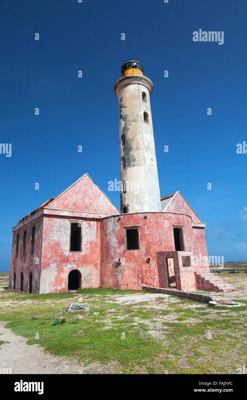 Der Leuchtturm in der Mitte Klein Curacao, Curacao Stockbild