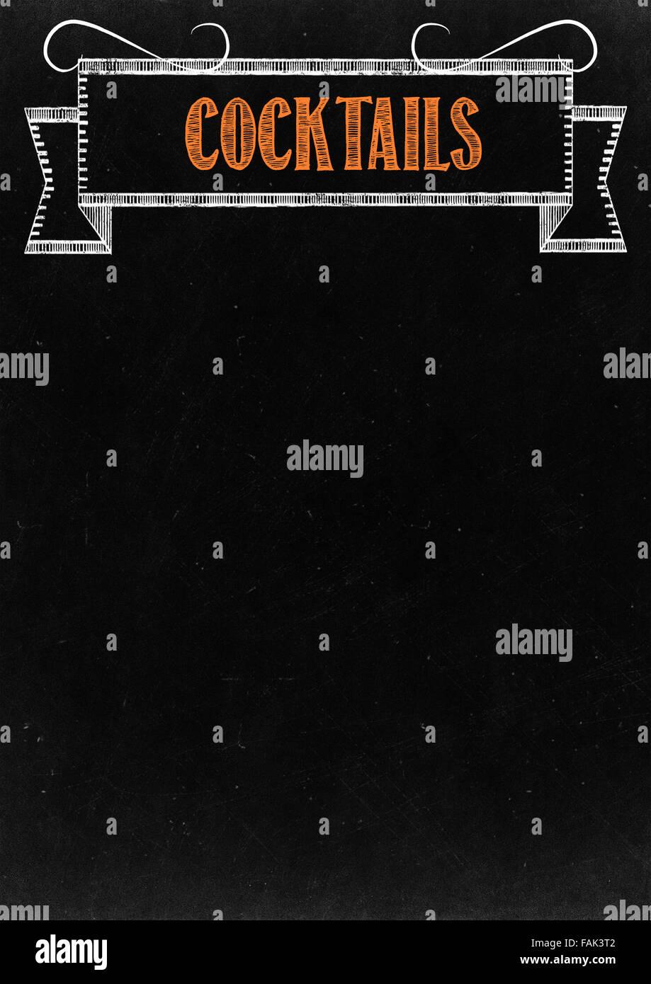 """Tafel mit """"Cocktails"""" Hand Drawn in Kreide mit textfreiraum für Ihren Text Stockbild"""