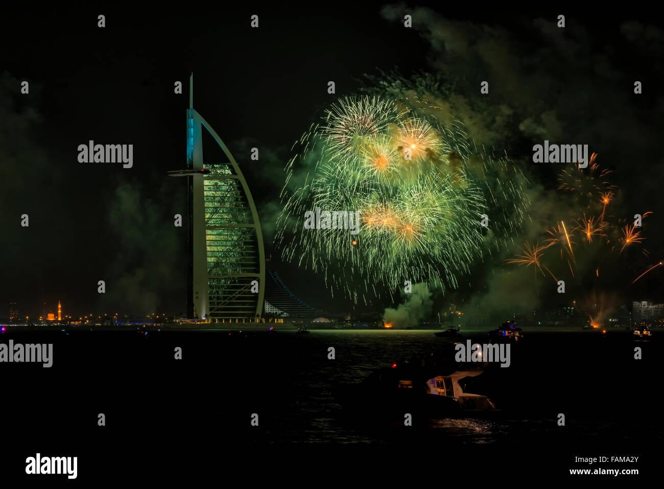 Silvester 2015 Feuerwerk in Dubai, Vereinigte Arabische Emirate Stockbild