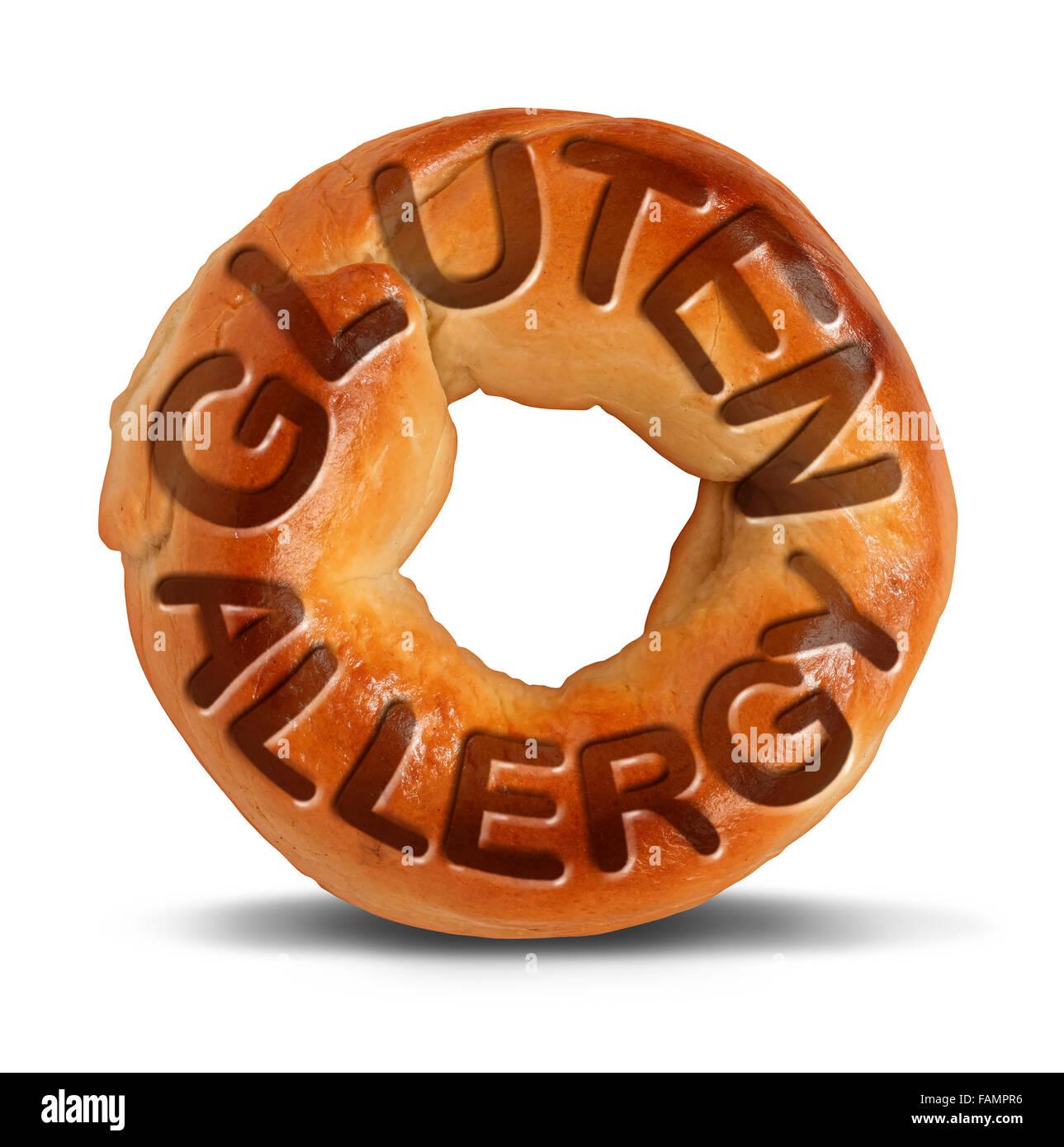 Gluten-Allergie-Symbol als Bagel Brot oder Weizen Produkt mit Text eingebettet in den Teig als eine Überempfindlichkeit Stockbild