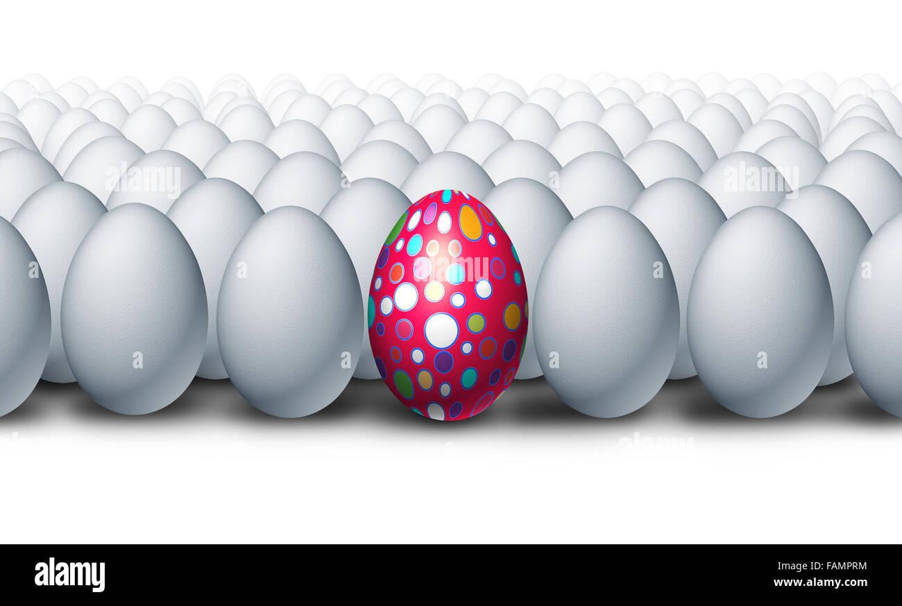 Spezielle dekoriert Ei stehen, als eine herausragende kreativ aus einer Gruppe von gewöhnlichen weißen Stockbild