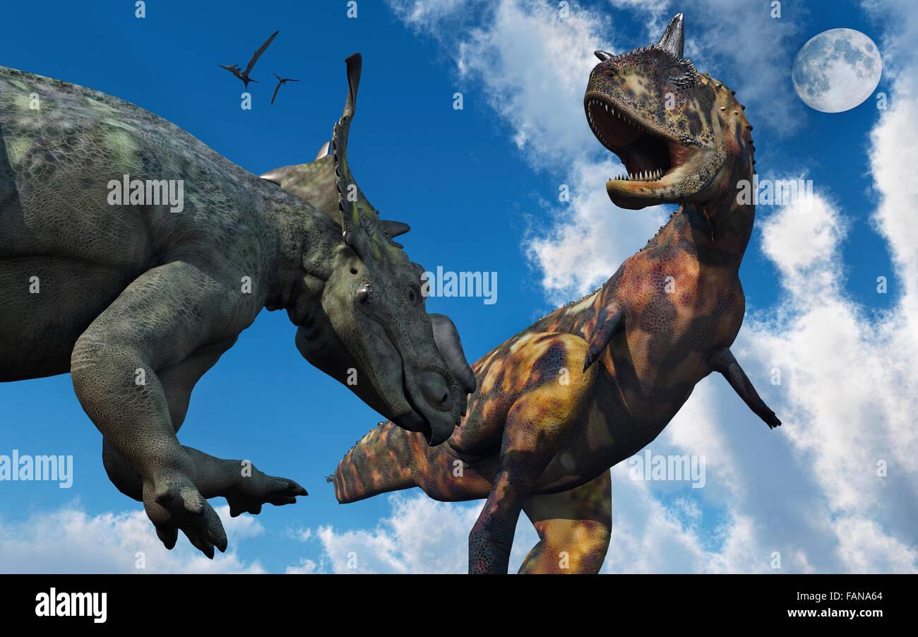 Ein Carnotaurus Pachyrhinosaurus Confroning A Stockfoto
