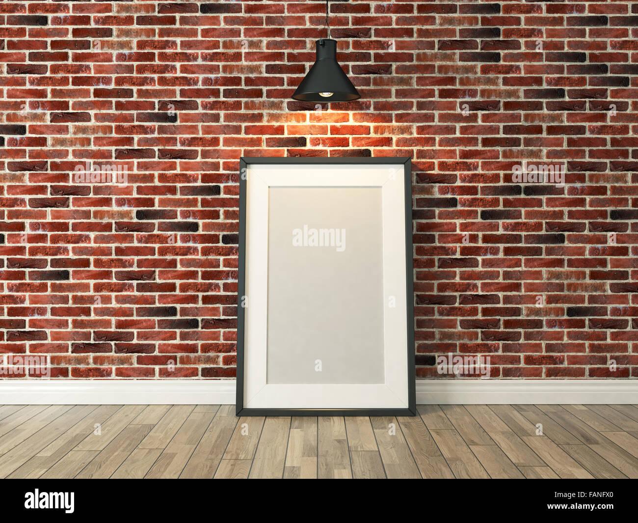Bilderrahmen auf dem roten Ziegel Wand und Holz Boden unter spot ...