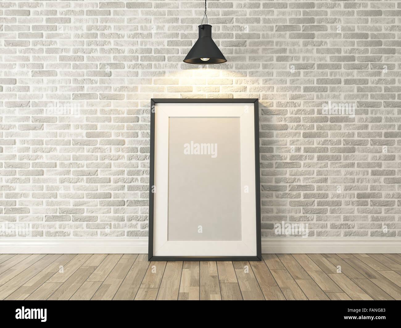 Bilderrahmen auf der weißen Wand und Holz Ziegelboden unter spot ...